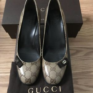 Gucci Beige GG Guccissima Coated Canvas Pumps